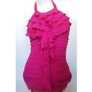 Express 100% Silk Ruffled Halter Hot Pink 0